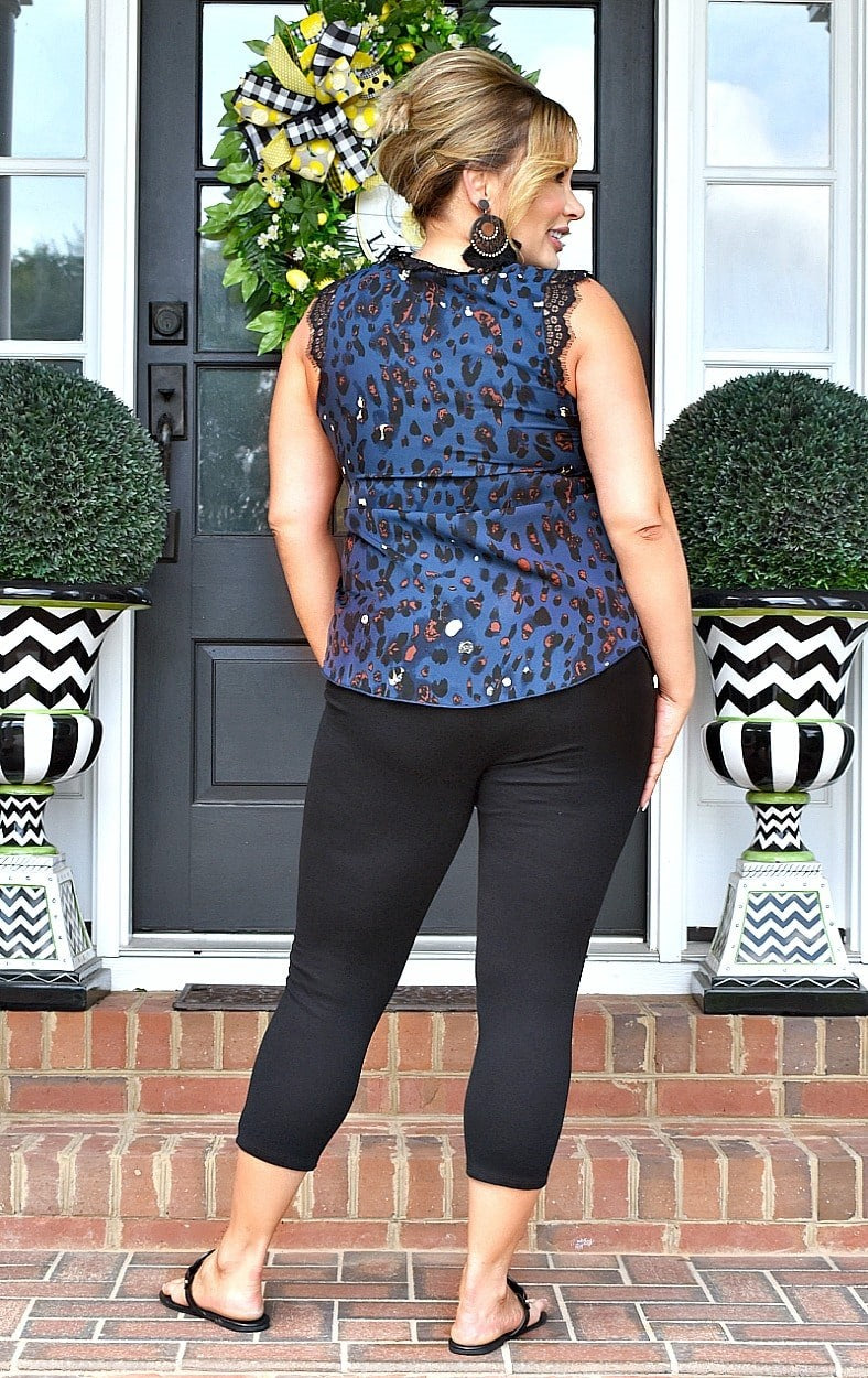 Get On With It Print Top - Blue