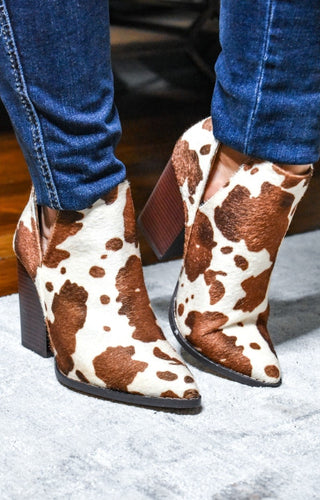 Bring The Heat Cow Print Booties - Tan/Ivory