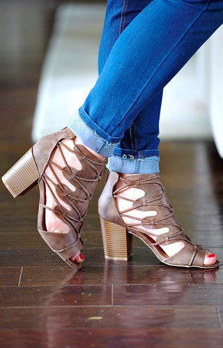 Lift your Spirits Heels - Dark Taupe