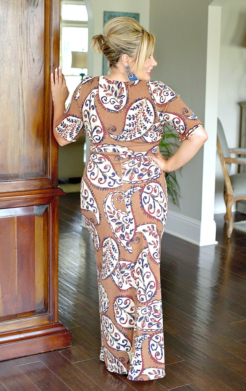 Always A Charmer Print Maxi Dress - Mocha