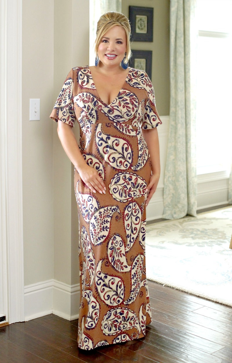 Load image into Gallery viewer, Always A Charmer Print Maxi Dress - Mocha