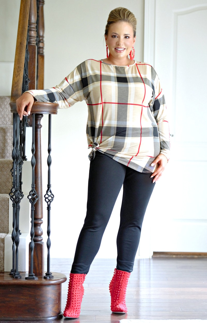 Moving Fast Plaid Top - Taupe