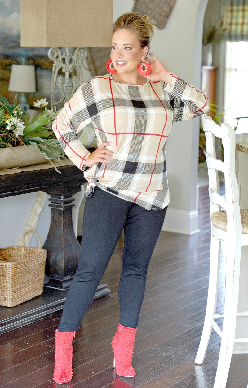 Load image into Gallery viewer, Moving Fast Plaid Top - Taupe