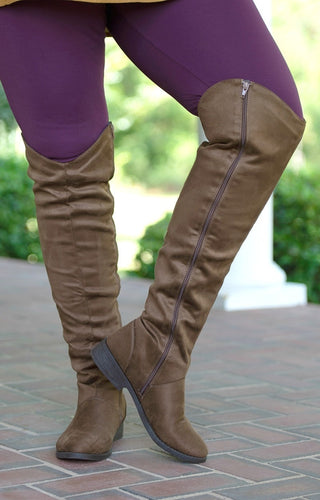 Be Yourself Over The Knee Boots - Brown
