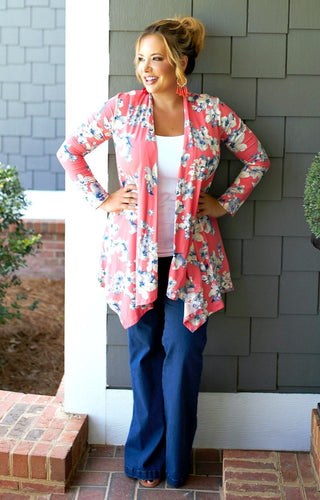 In The Bag Floral Cardigan - Coral