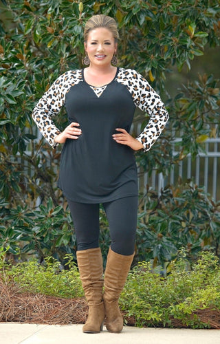 Sweetest Escape Leopard Print Top - Black