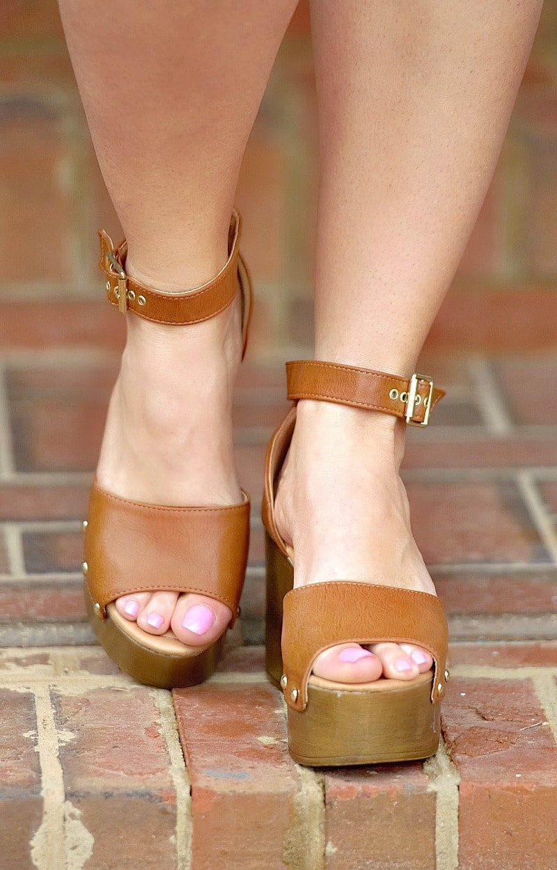 Clear A Path Ankle Strap Heels - Cognac