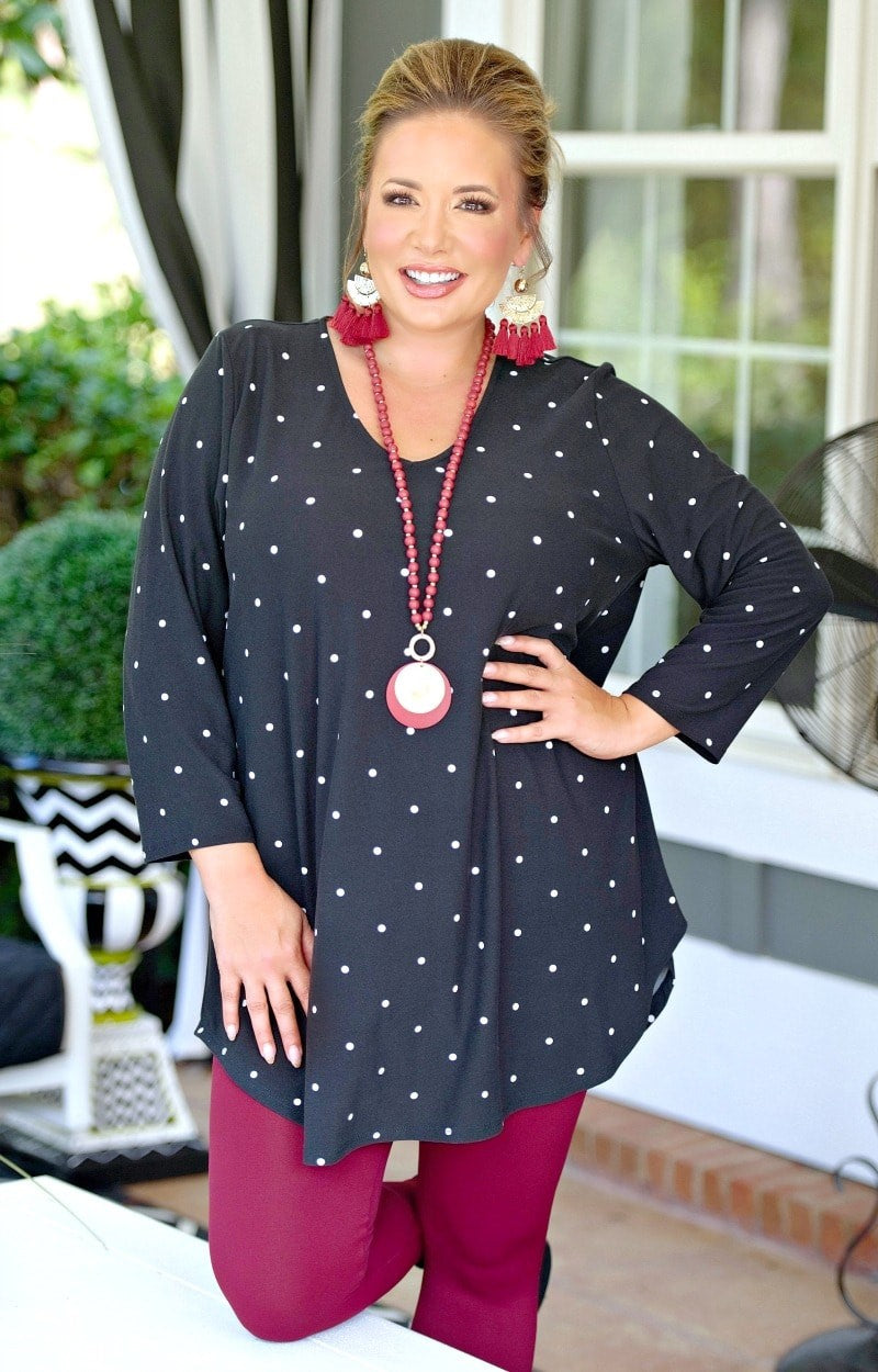 Very Sincere Polka Dot Top - Black