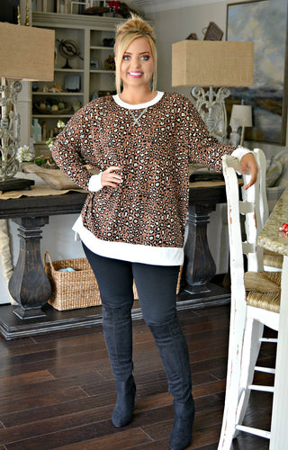 In The Middle Leopard Print Pullover