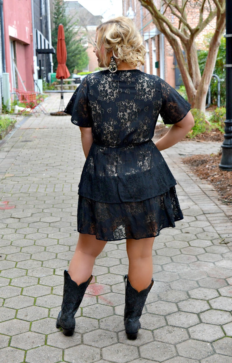 Load image into Gallery viewer, Striking Arrival Lace Dress - Black