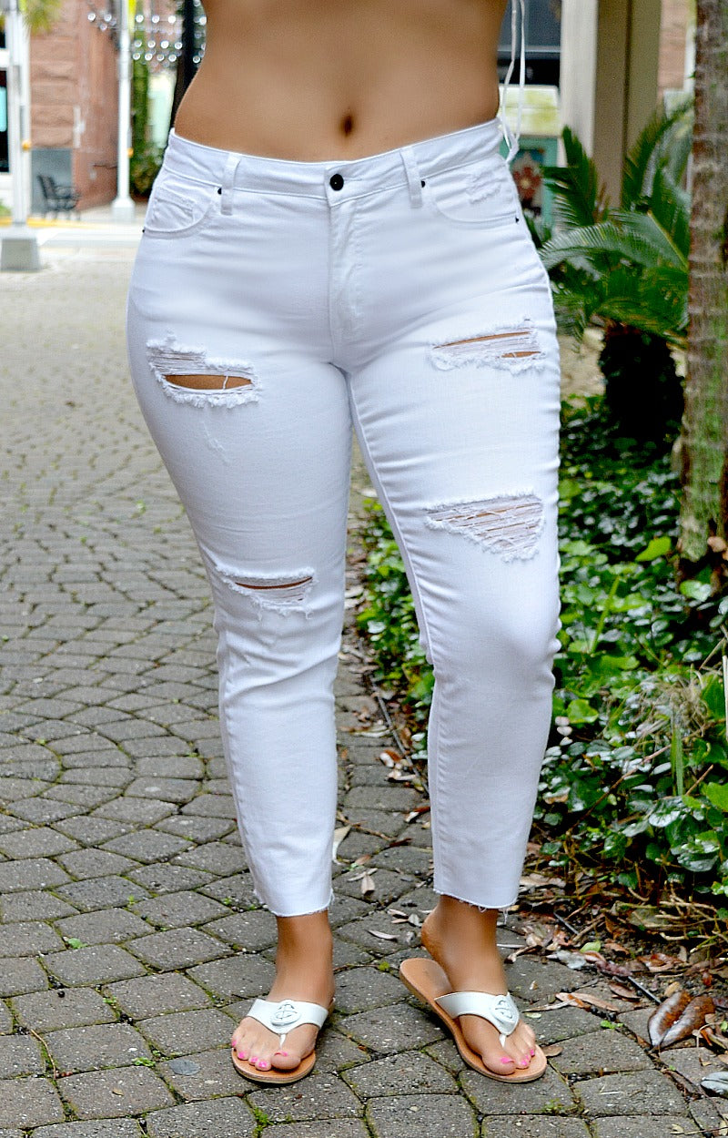 I'm Ready Mid-Rise Distressed Jeans - White