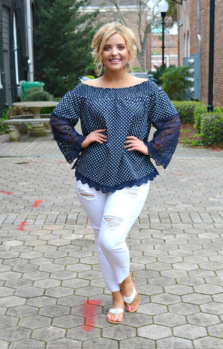 Another Day Polka Dot Lace Top - Navy