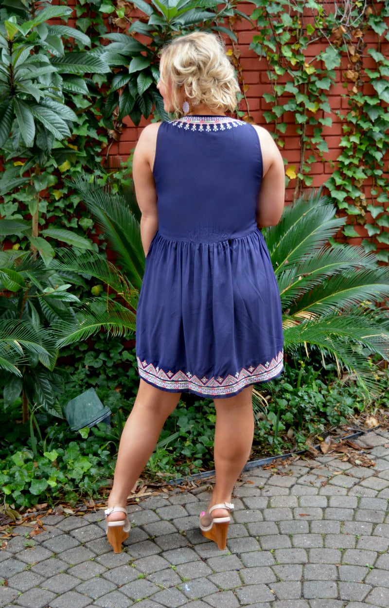 Load image into Gallery viewer, Miss Me Yet Embroidered Dress - Navy