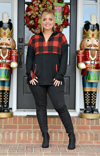 Fight The Truth Buffalo Plaid Pullover - Red/Black