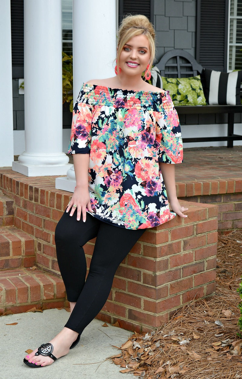 Call It A Day Floral Top - Black