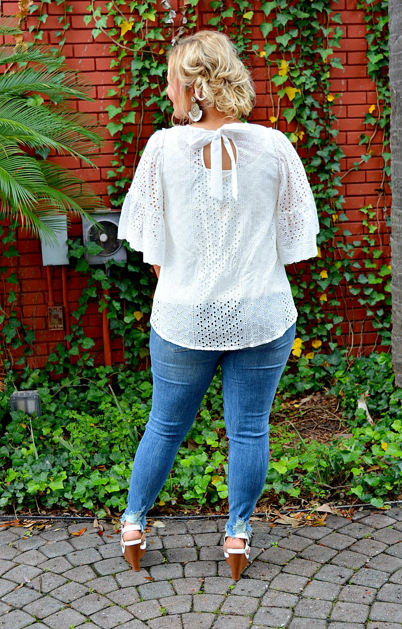 Load image into Gallery viewer, Take My Chances Eyelet Top - White