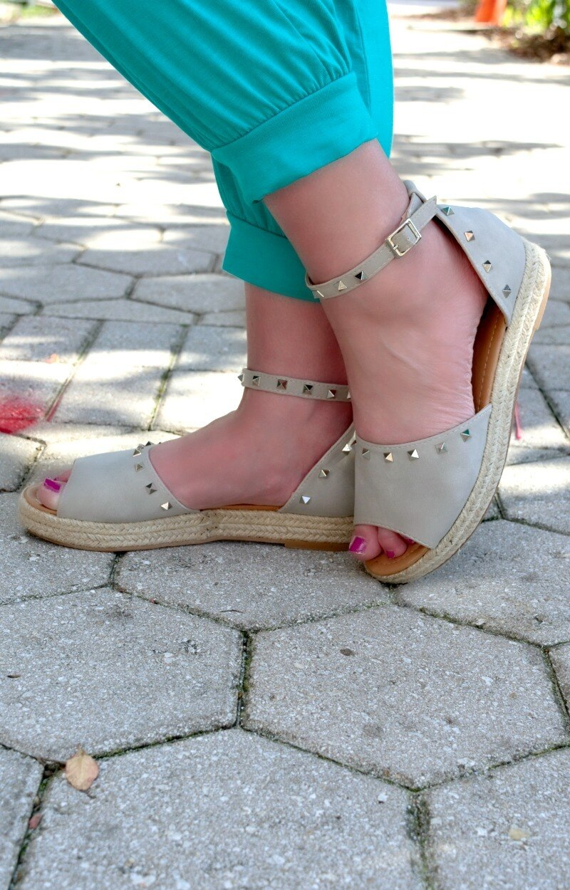 Give Me A Lift Studded Wedges - Smoked Gray
