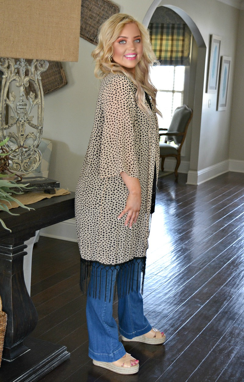 Load image into Gallery viewer, Easy Target Print Kimono - Taupe
