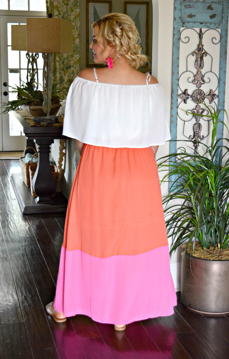 Load image into Gallery viewer, Fly Away Colorblock Maxi Dress - Tomato/Fuchsia