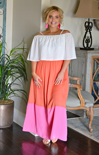 Fly Away Colorblock Maxi Dress - Tomato/Fuchsia