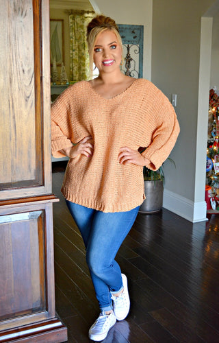Just A Friend Sweater - Coral