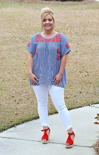 Take It All Embroidered Gingham Top - Blue