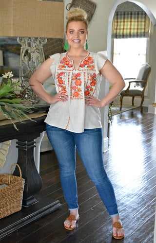 At Last Embroidered Top - Taupe
