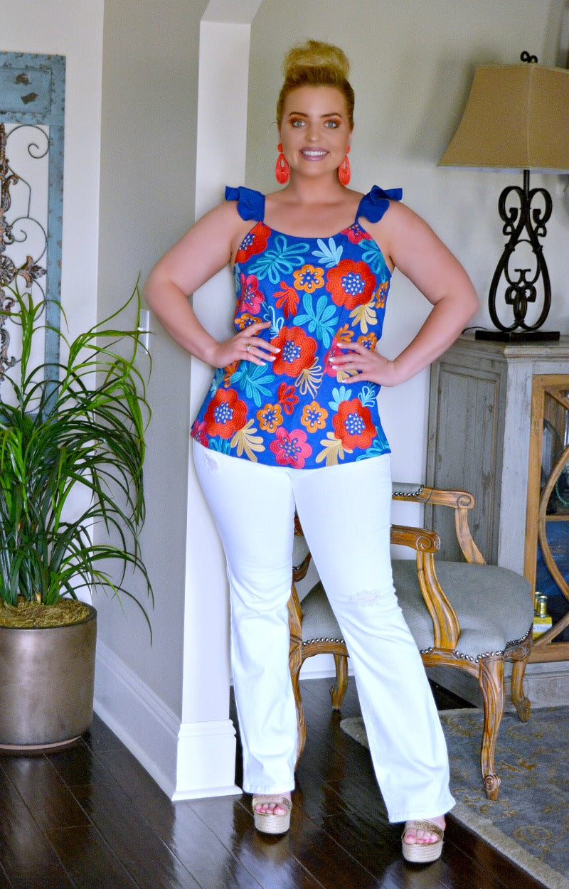 Cut It Out Embroidered Floral Top - Royal Blue