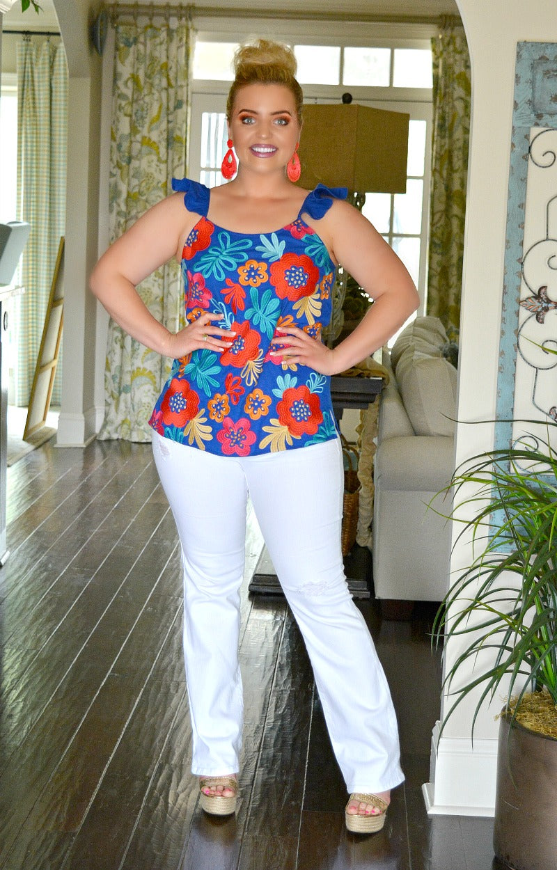 Load image into Gallery viewer, Cut It Out Embroidered Floral Top - Royal Blue