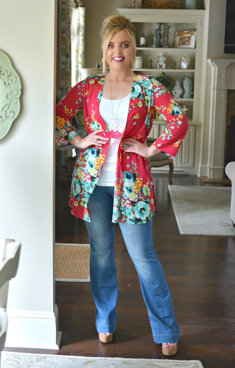 Load image into Gallery viewer, Little Do You Know Floral Kimono - Pink