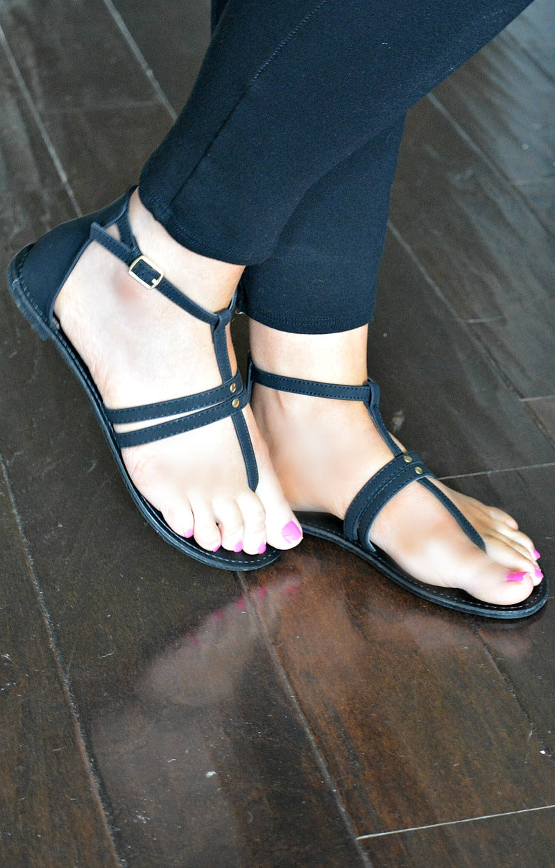 Load image into Gallery viewer, Can't Decide Gladiator Sandals - Black