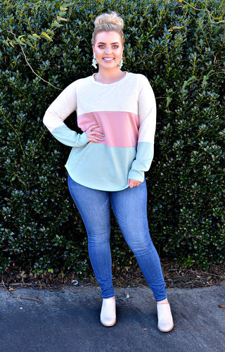 Found My Comfort Colorblock Sweater - Pink/Mint