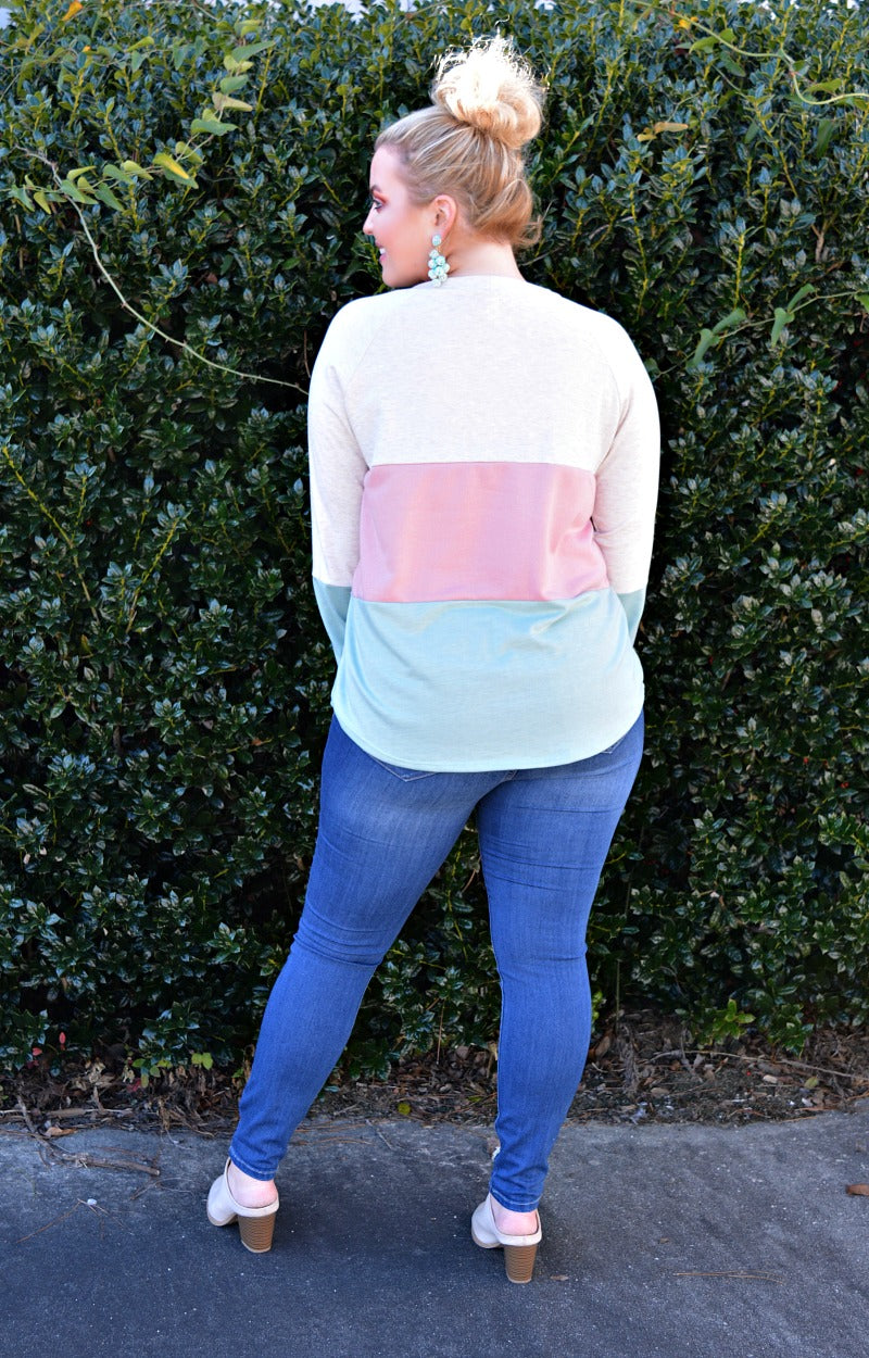 Load image into Gallery viewer, Found My Comfort Colorblock Sweater - Pink/Mint