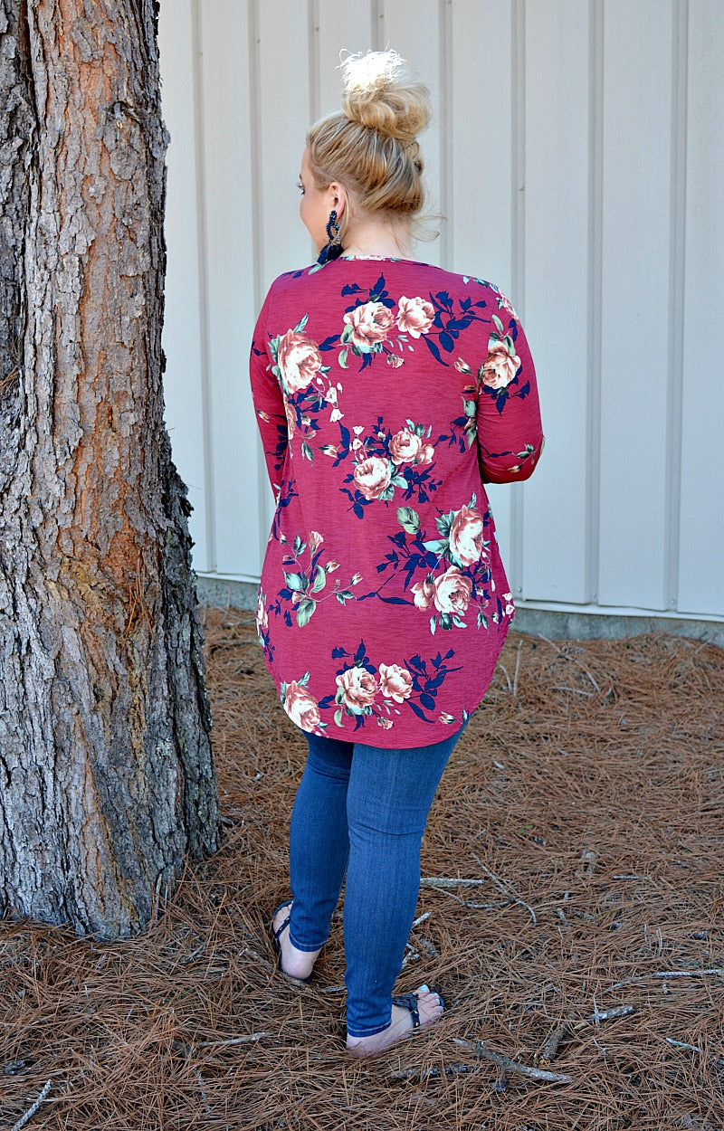 Look Here Floral Top - Burgundy