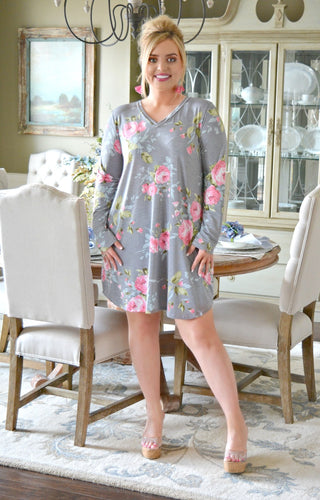 To Be Expected Floral Dress - Gray