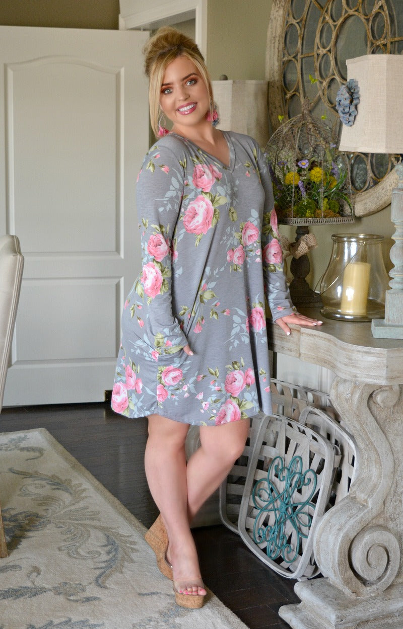 Load image into Gallery viewer, To Be Expected Floral Dress - Gray