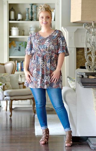 Last Kiss Floral Tunic Top - Navy