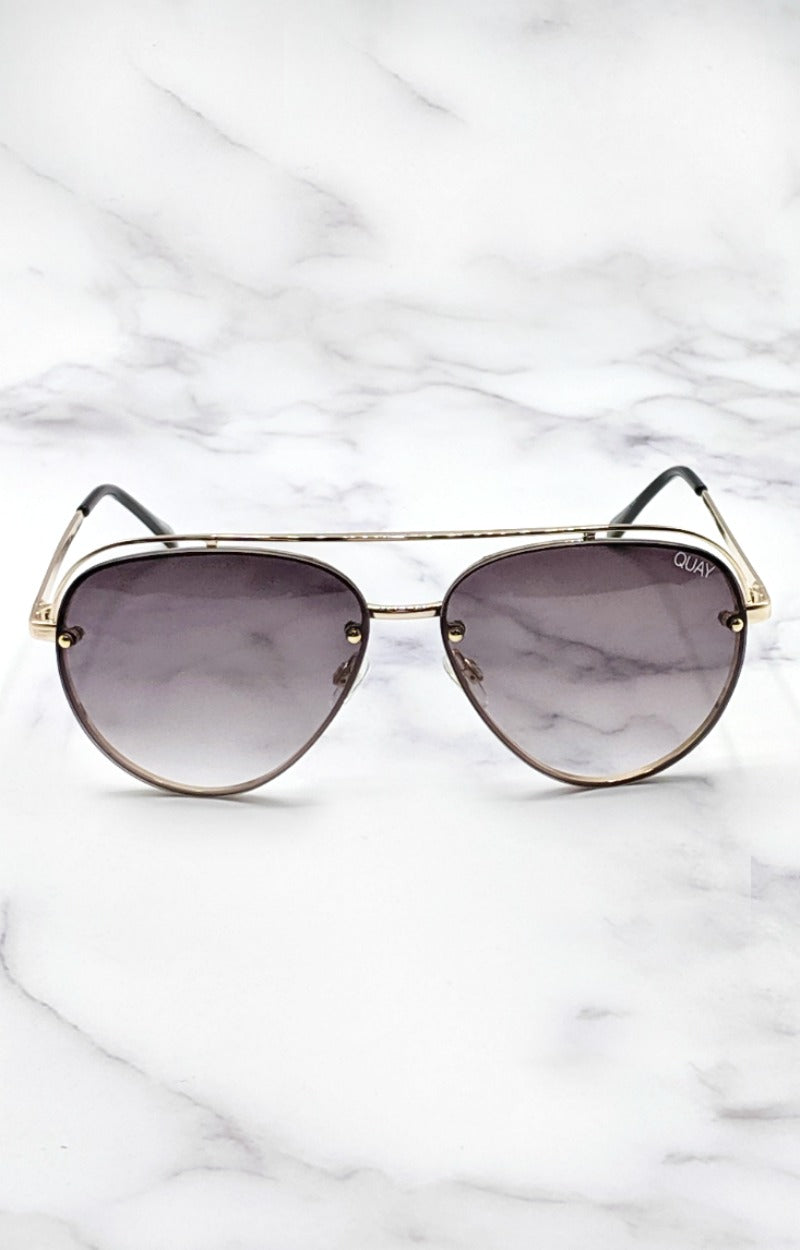 Load image into Gallery viewer, Quay Australia - Long Story Gold/Smoke Sunglasses