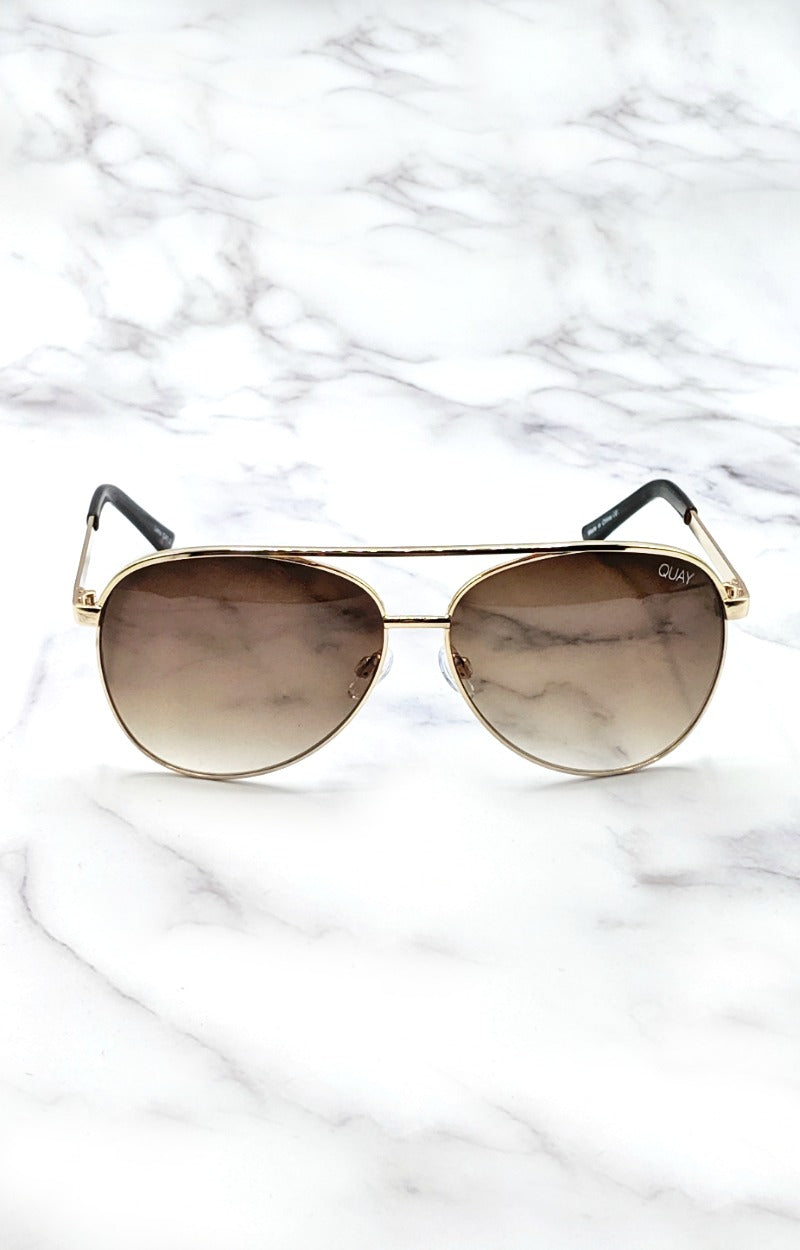 Load image into Gallery viewer, Quay Australia - Vivienne Gold/Brown Sunglasses