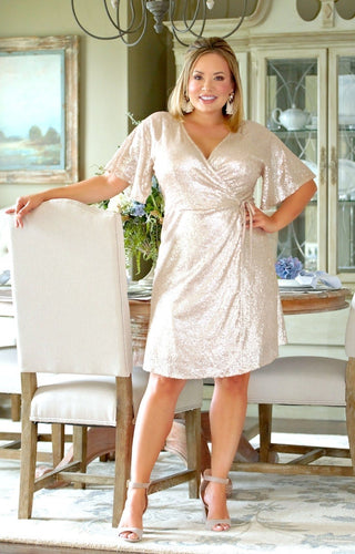 Shining Star Sequin Wrap Dress - Champagne