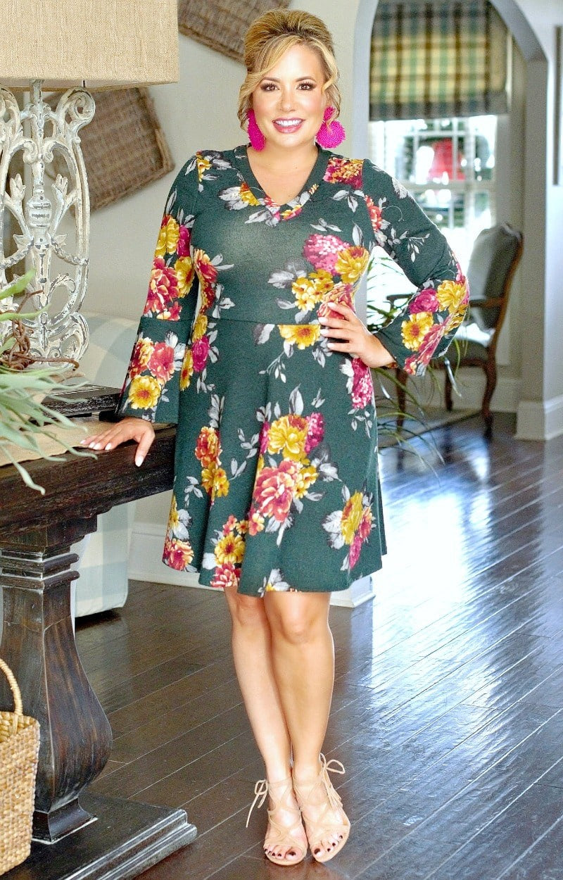 Load image into Gallery viewer, Appetite For Love Floral Dress - Hunter Green