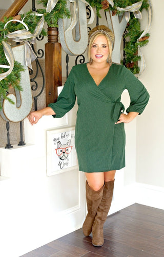 Check Mate Wrap Dress - Hunter Green