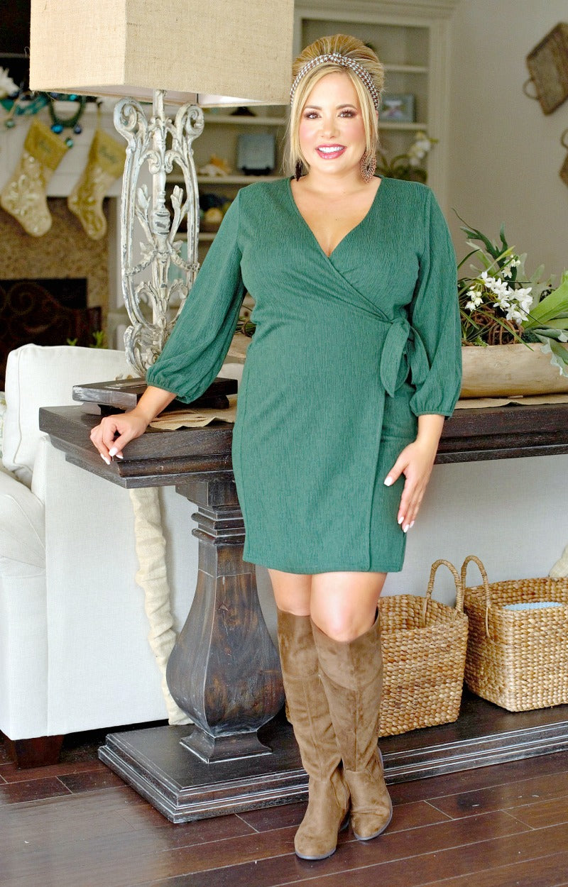 Load image into Gallery viewer, Check Mate Wrap Dress - Hunter Green