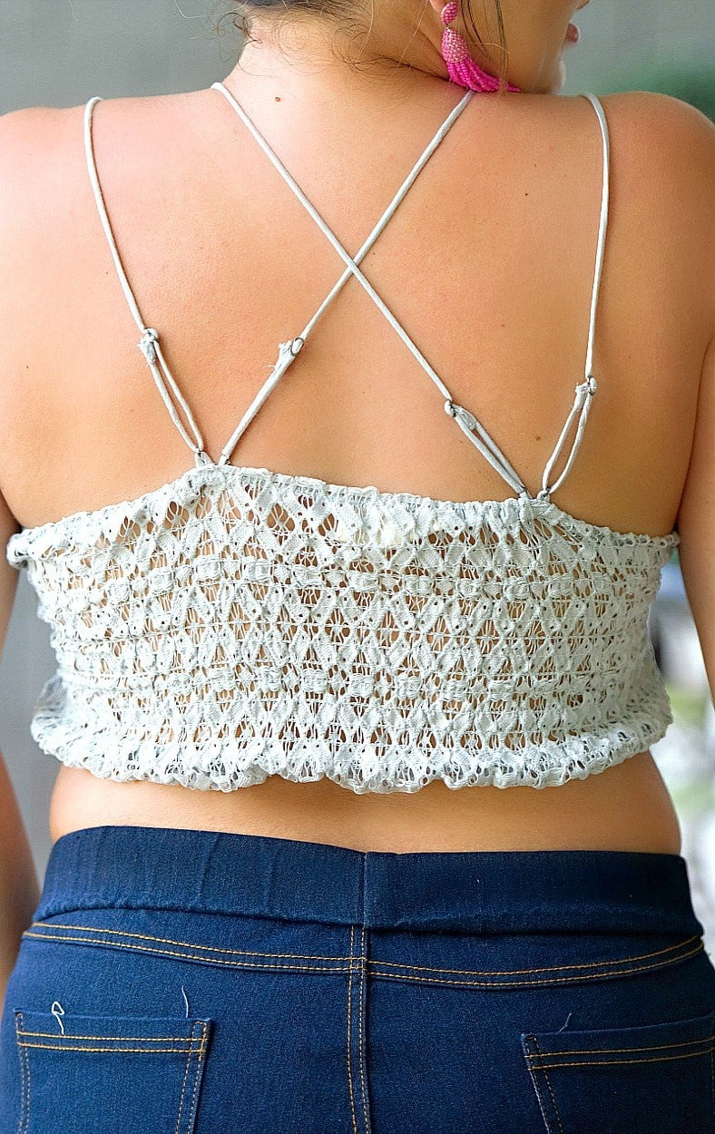 Come & Go Lace Bralette - Light Gray