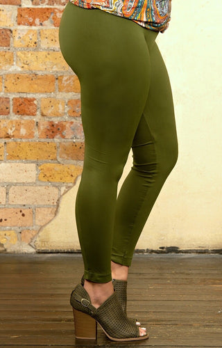 So Very Luxe Ankle Length Leggings - Olive