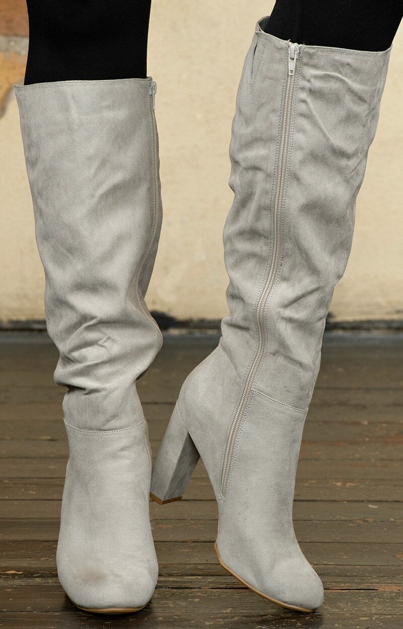 Stand Your Ground Knee Boots - Gray