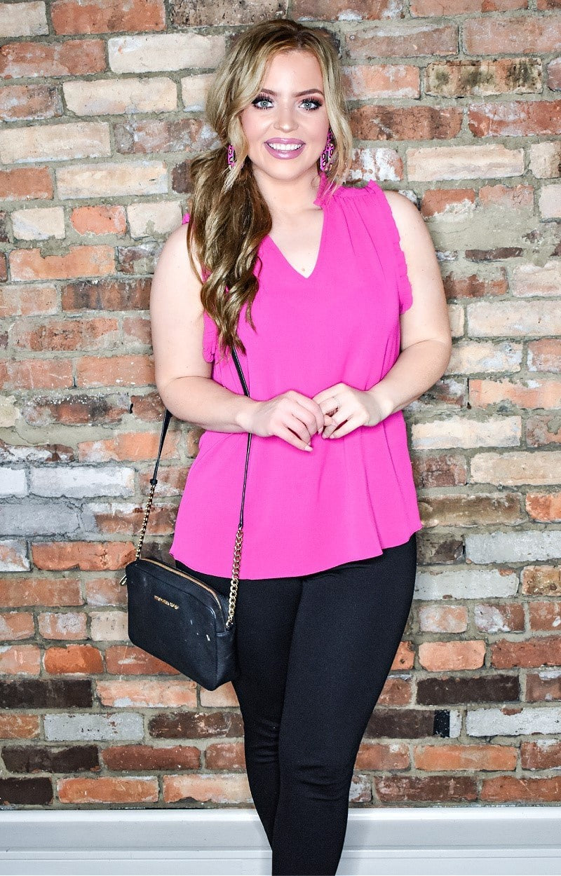 Over The Edge Top - Hot Pink