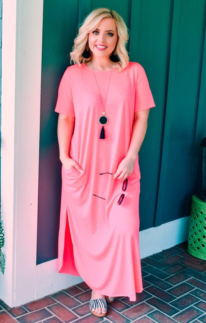 Don't Break My Heart Maxi Dress - Hot Pink