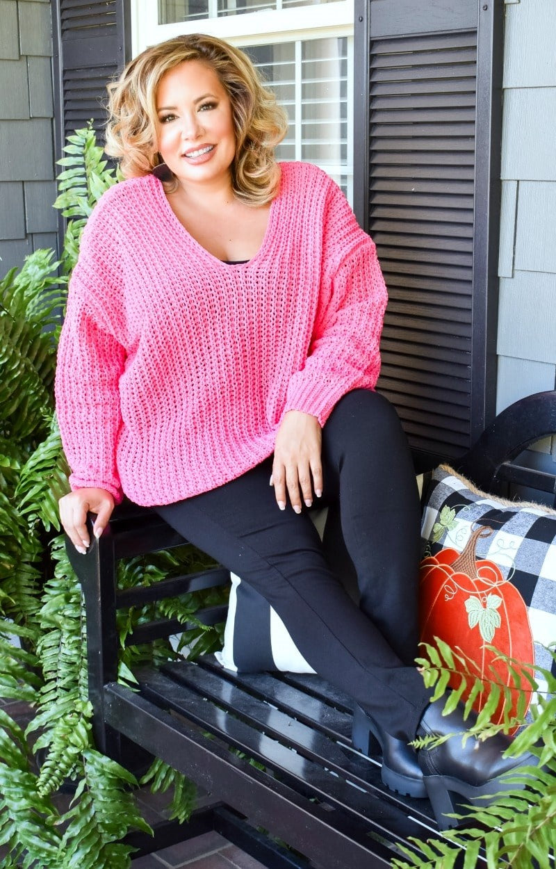 Anything's Possible Oversized Sweater - Hot Pink