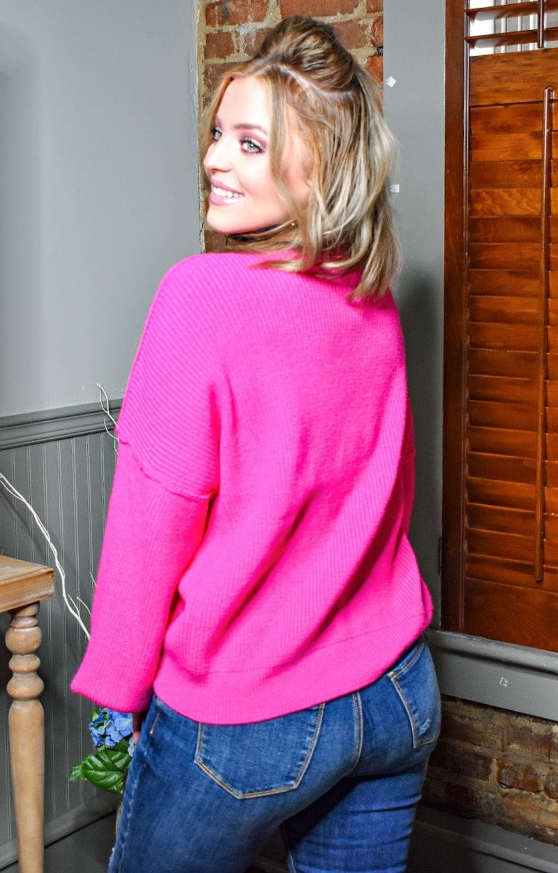 Unstoppable Feeling Oversized Sweater - Hot Pink